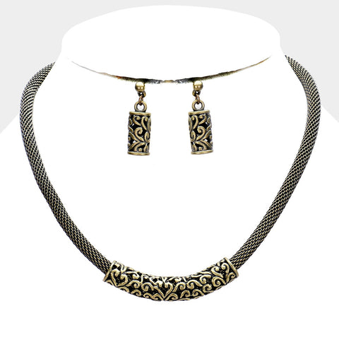 Embossed Metal Necklace
