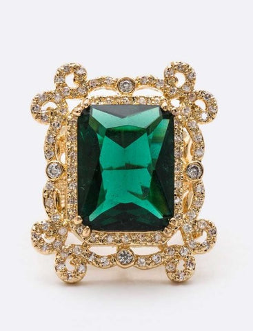 Emerald Gold CZ Ring - iBESTEST.com