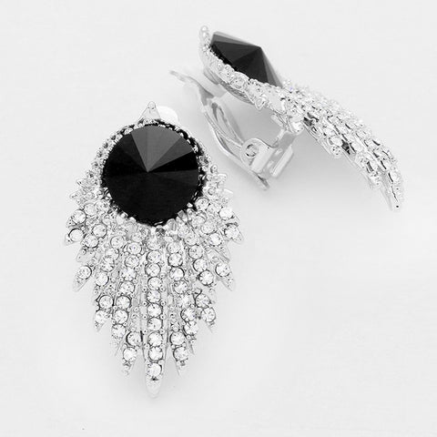Game of Thrones Black Crystal Clip On Earrings