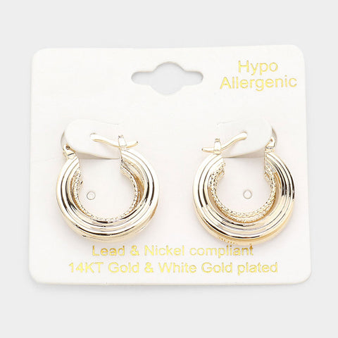 Gold Pin Catch Hoops