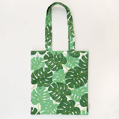 Leaf Print Canvas Tote