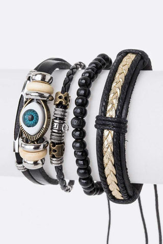 Men's Leather Eye Bracelet