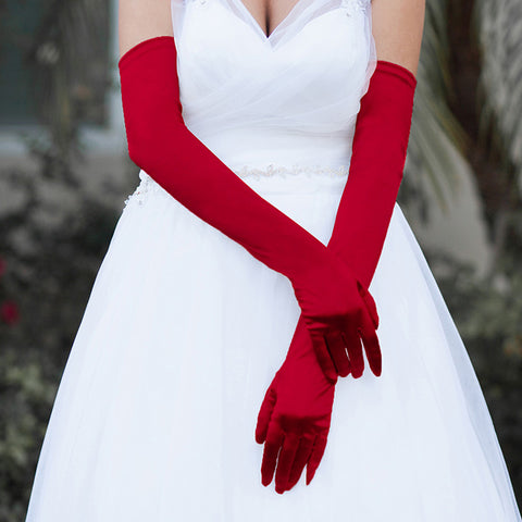 Long Satin Gloves - iBESTEST.com