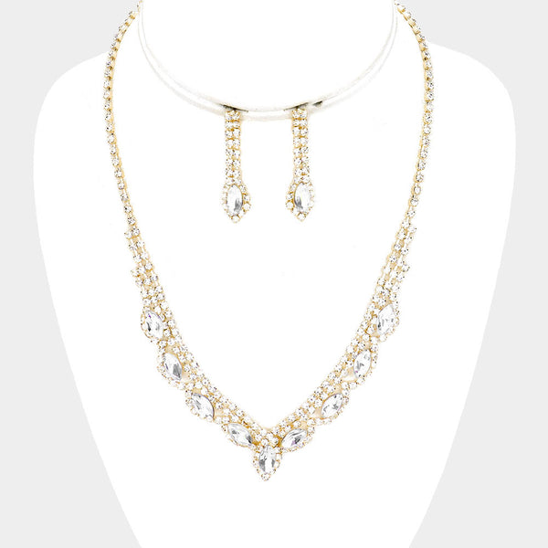 Marquis Crystal Necklace & Earring Set - iBESTEST.com