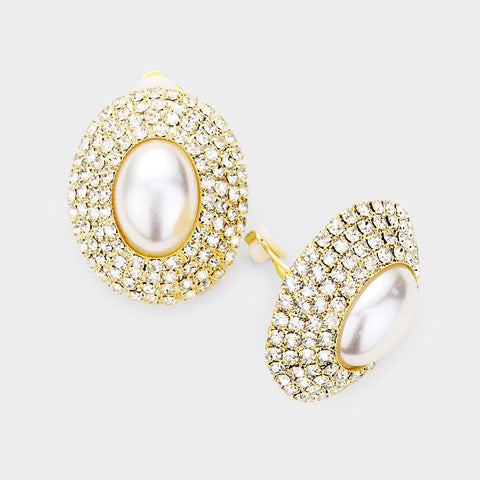 Oval Pearl in a Rhinestone Galaxy Clip On Earrings