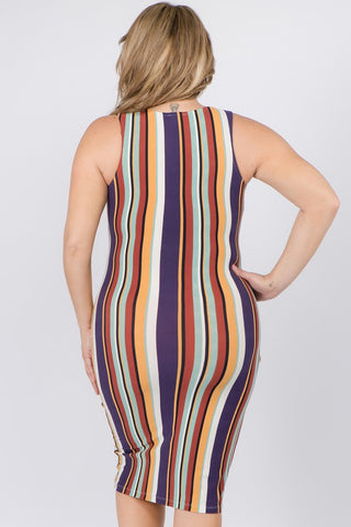 Plus Striped Colorfully Dress