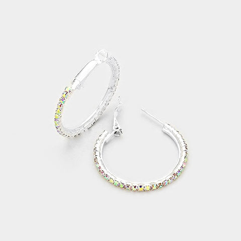 Rhinestone Hoop Earrings - iBESTEST.com