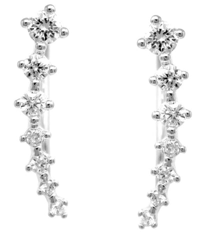 Dainty CZ Climber Earrings