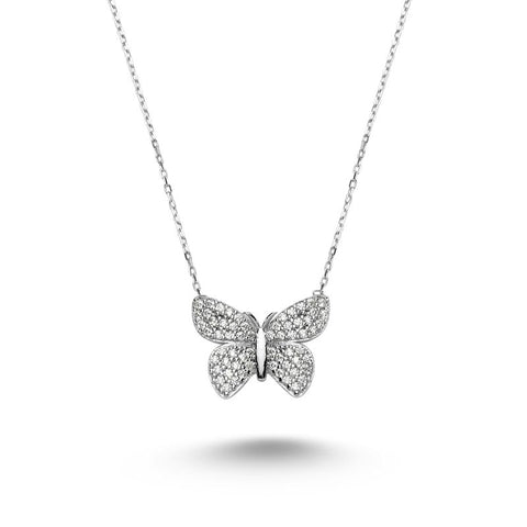 White Crystal Butterfly Necklace - iBESTEST.com