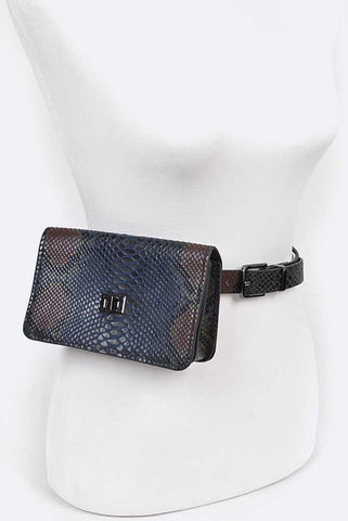 Snake Embossed Belt Bag