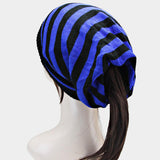 Striped Ponytail Beanie Hat