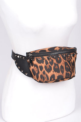 Studded Animal Print Waist Bag
