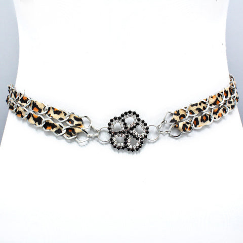 Crystal Flower Leopard Belt
