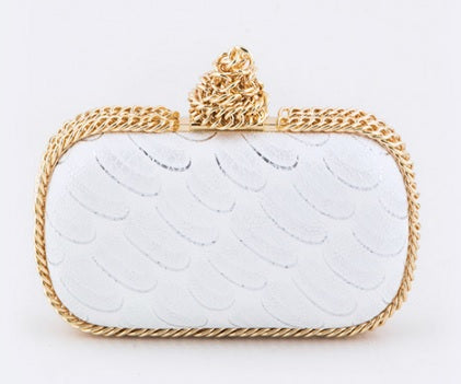Gold Chained Artisan Textured Statement Box Clutch
