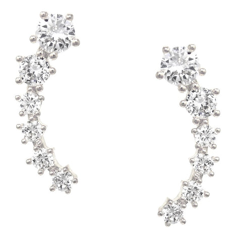 CZ Climber Stud Earrings - iBESTEST.com