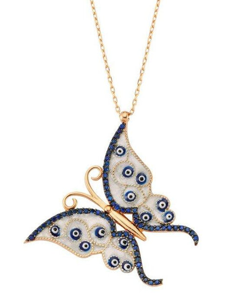 Evil Eye Butterfly Necklace - iBESTEST.com