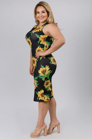 Plus Size Sunflower Dress