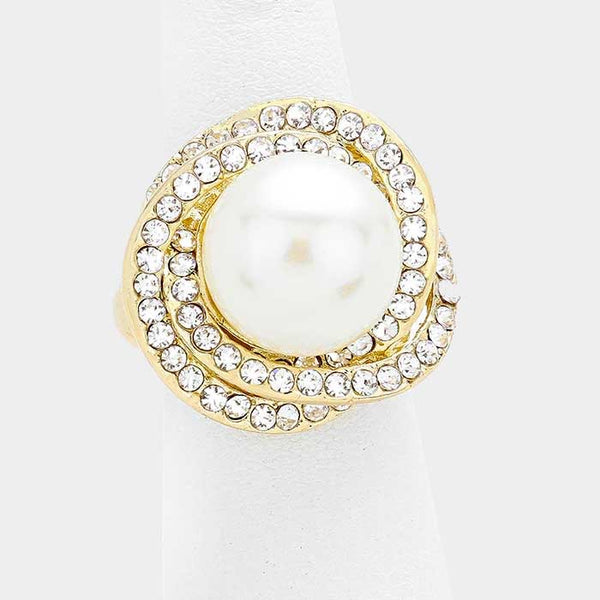 Crystal Pearl Stretch Ring - iBESTEST.com