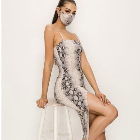 Snake Print Dress & Mask Set