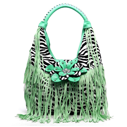Zebra Fringe Bag
