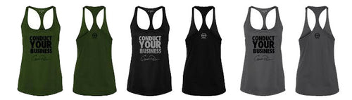 Conduct Your Business Women's Racerback Tanks