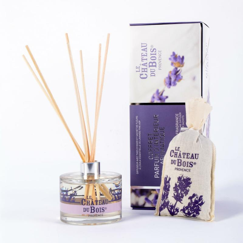 Le Chateau Du Bois BOX OF AROMATIC HOME FRAGRANCE WITH LAVENDER COTTON BAG