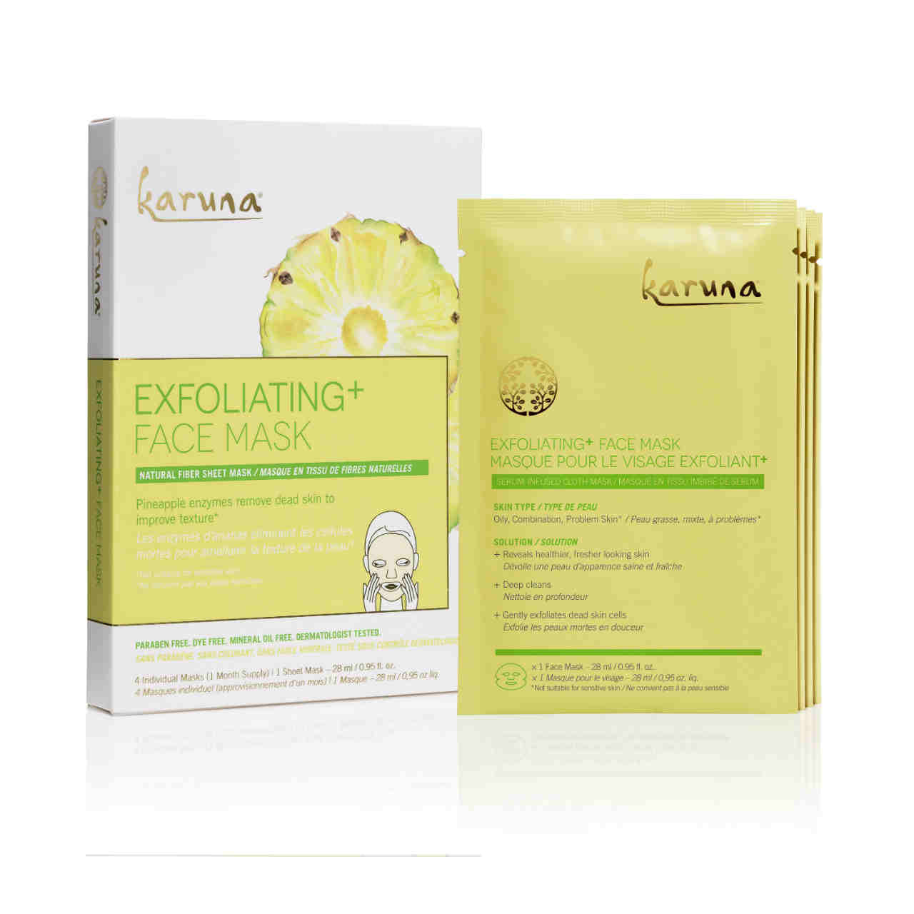 KARUNA Exfoliating+ Face Mask Box of 4
