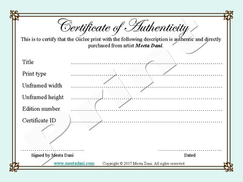 Certificate of authenticity for prints