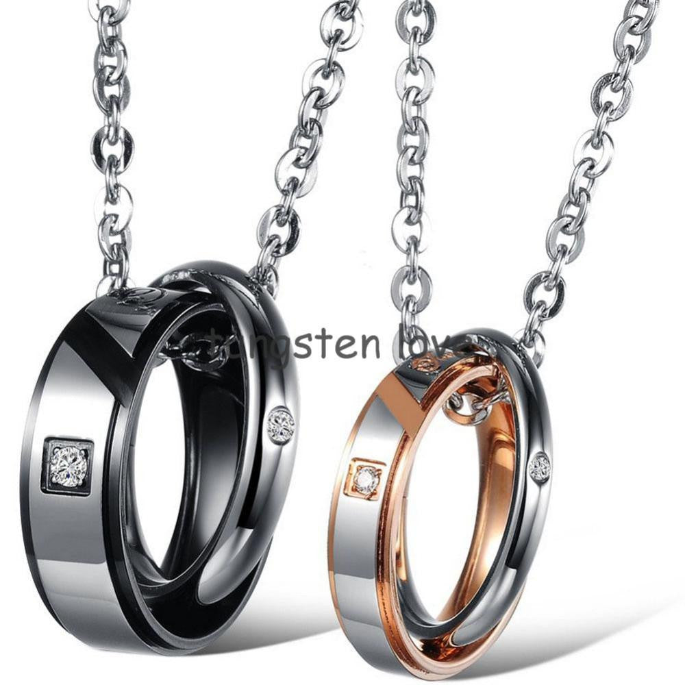 1 piece 2015 mens womens true love stainless steel pendant 1 piece 2015 mens womens true love stainless steel pendant necklace two rounds couples mozeypictures Choice Image