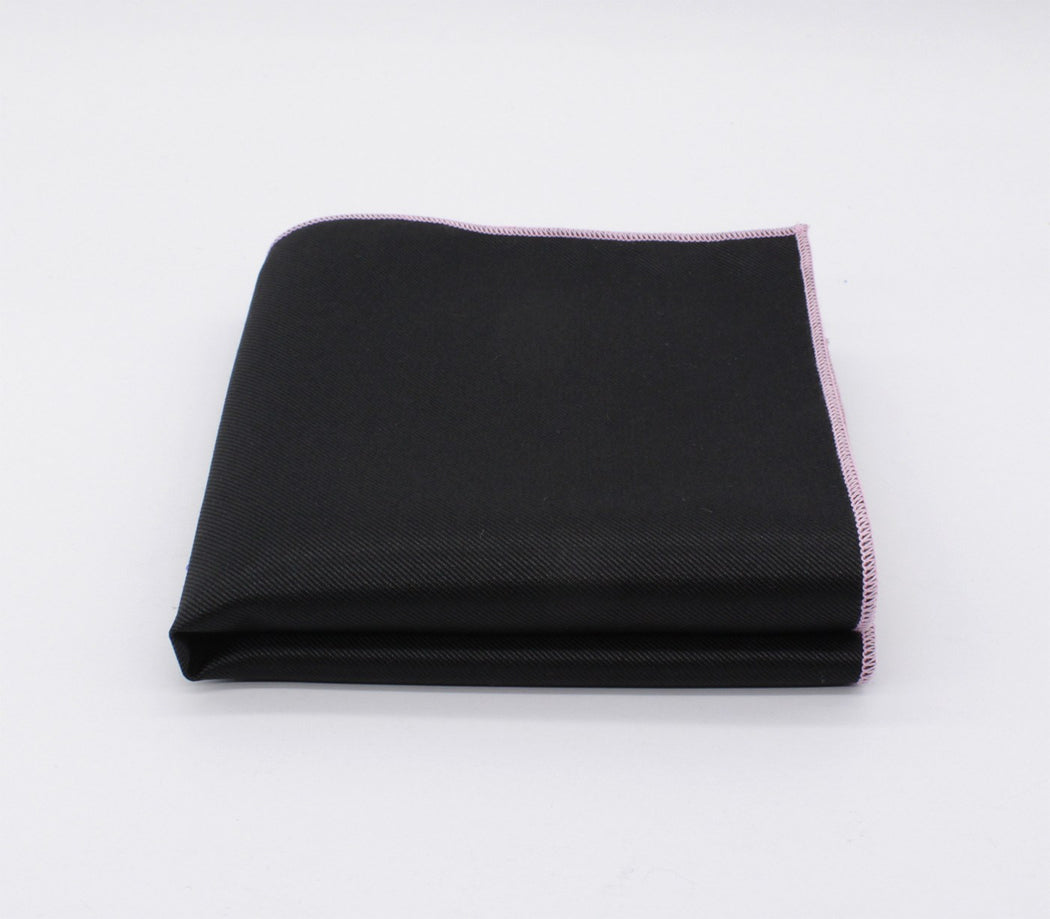 Alluring Black & Pink Solid Color Pocket Square