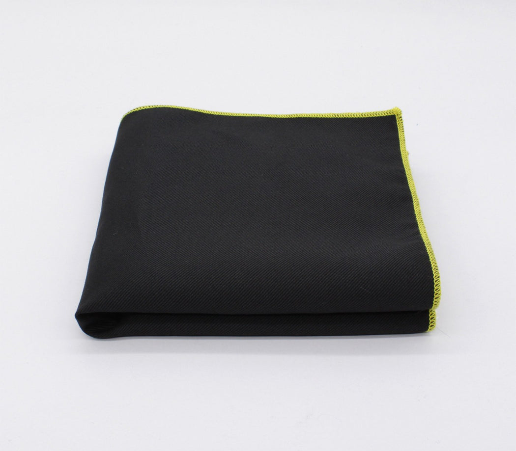 Appealing Black & Yellow Solid Color Pocket Square