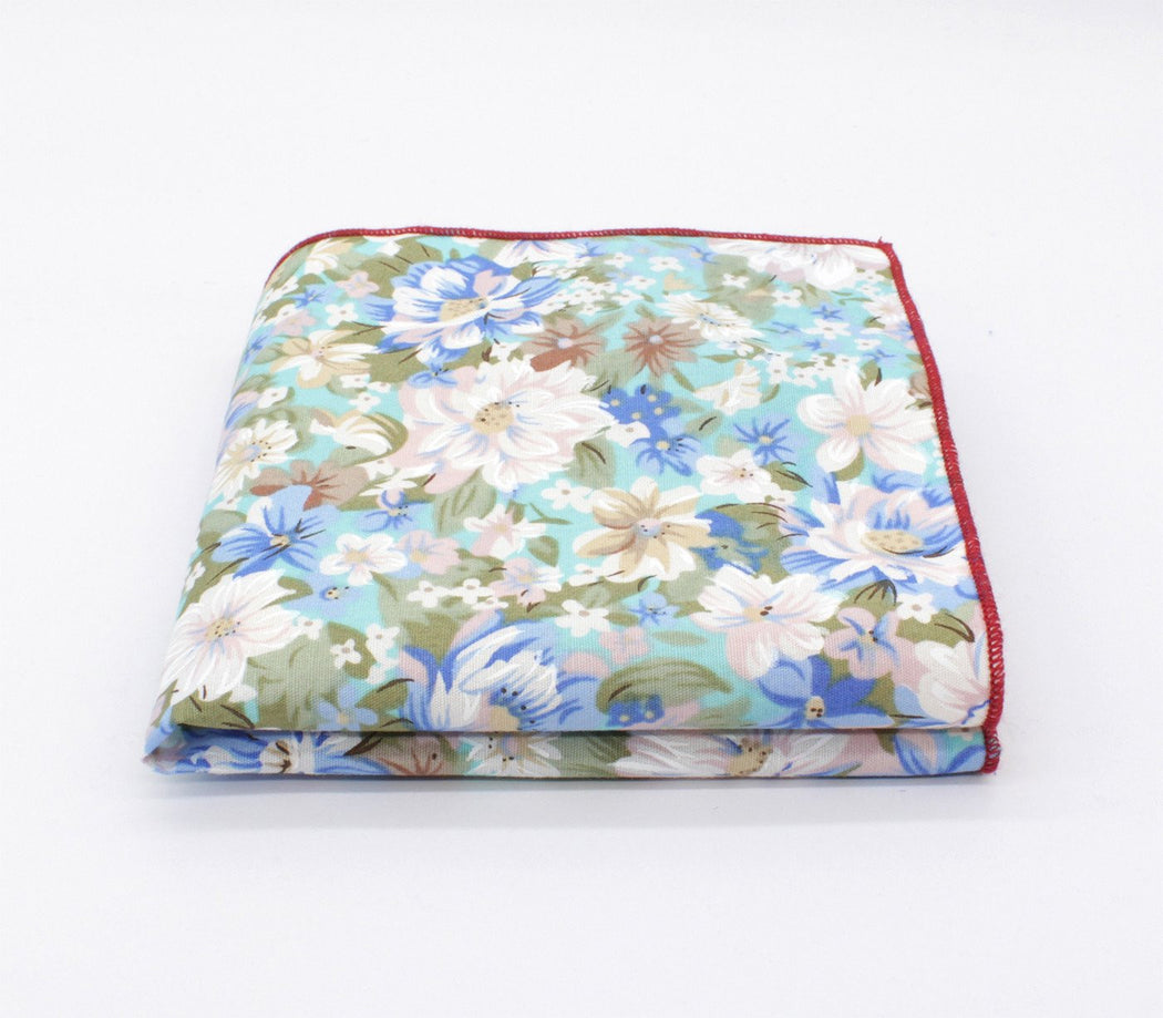 Aqua Blue Floral Pocket Square