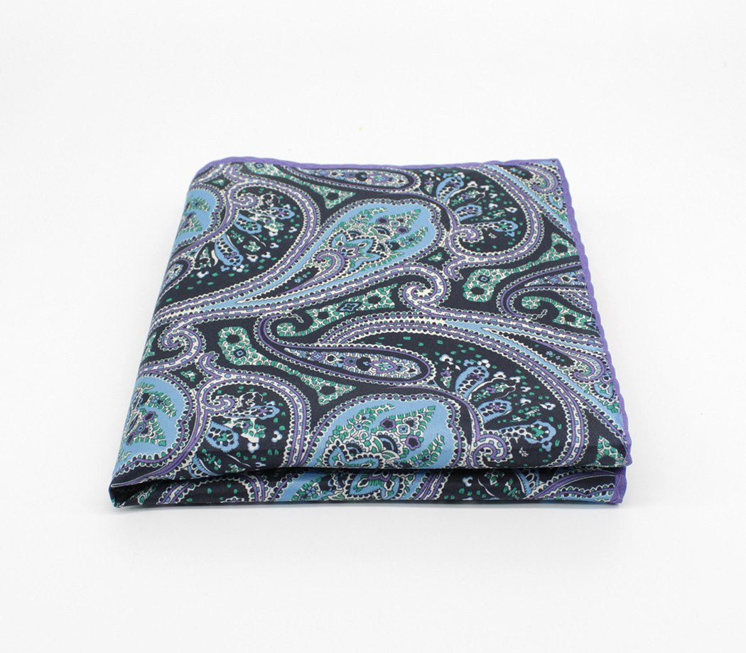 Aqua Print Silk Pocket Square