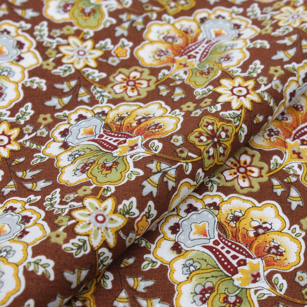 Bedazzling Brown Floral Pocket Square