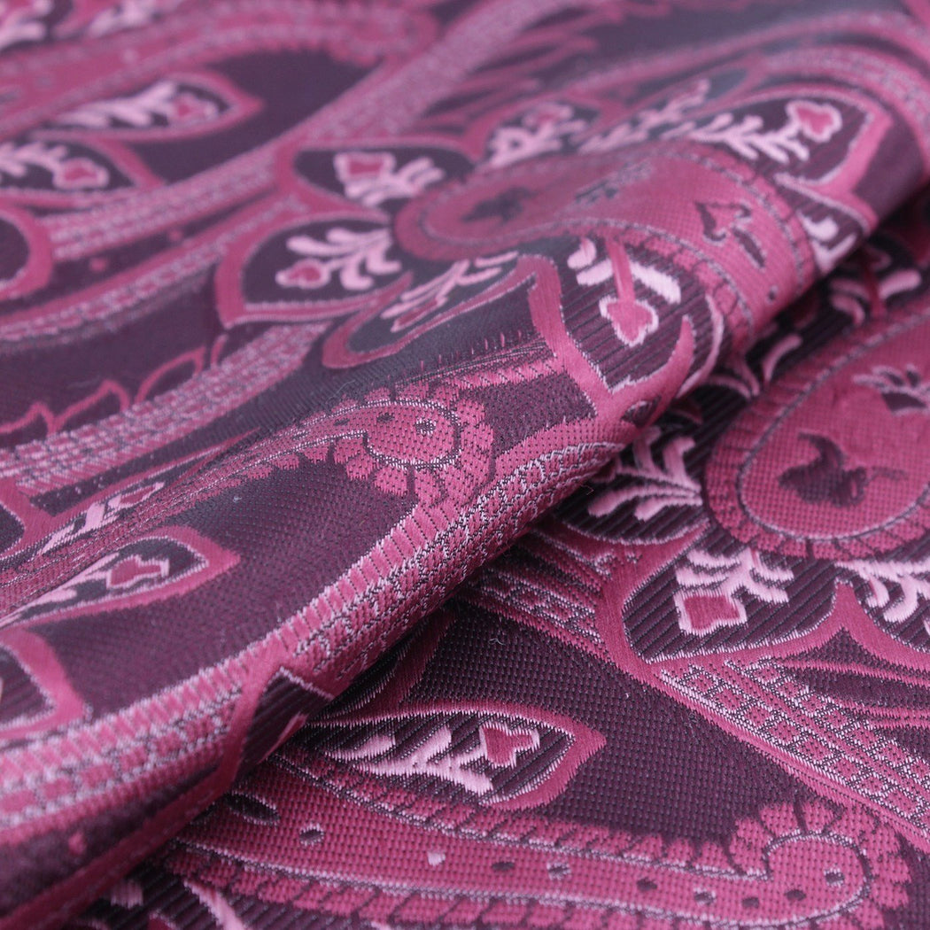 Berry Red with Maroon Paisley Pocket Square