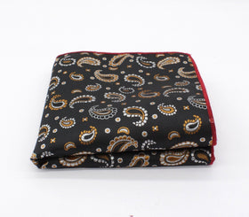 Black Bombastic Paisley Pocket Square