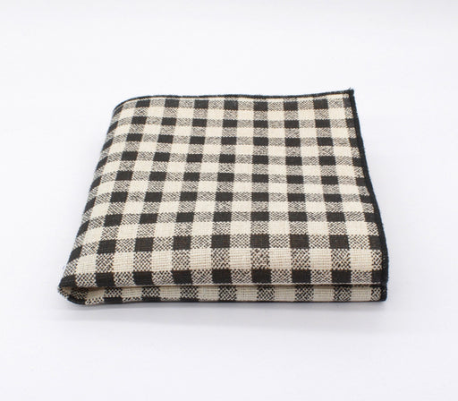 Black & Off-White Plaid Pocket Square