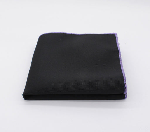 Black & Purple Edge Solid Color Pocket Square