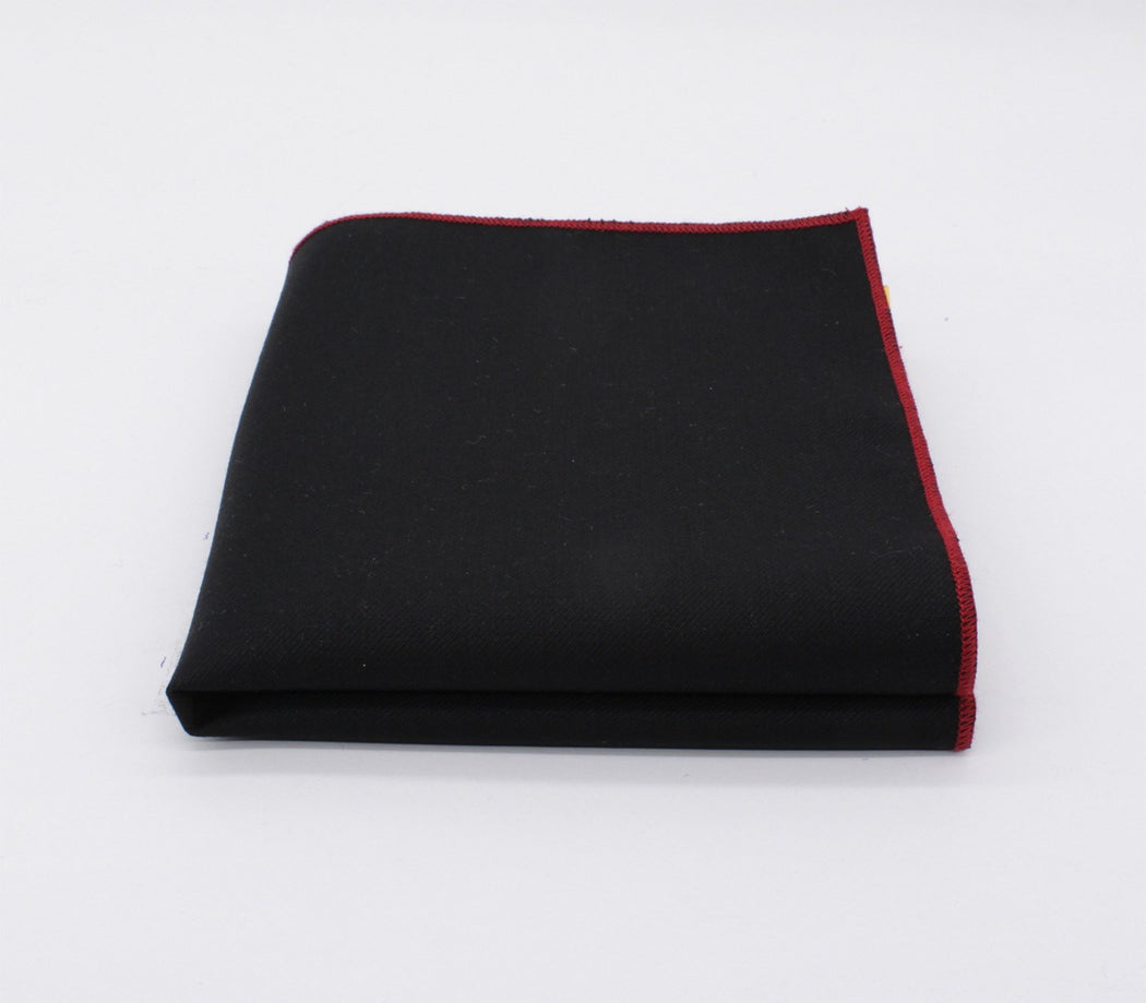 Black & Red Story Solid Color Pocket Square