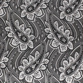 Black & Silver Love Paisley Pocket Square