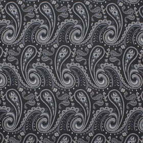 Black & Silver Paisley Pocket Square