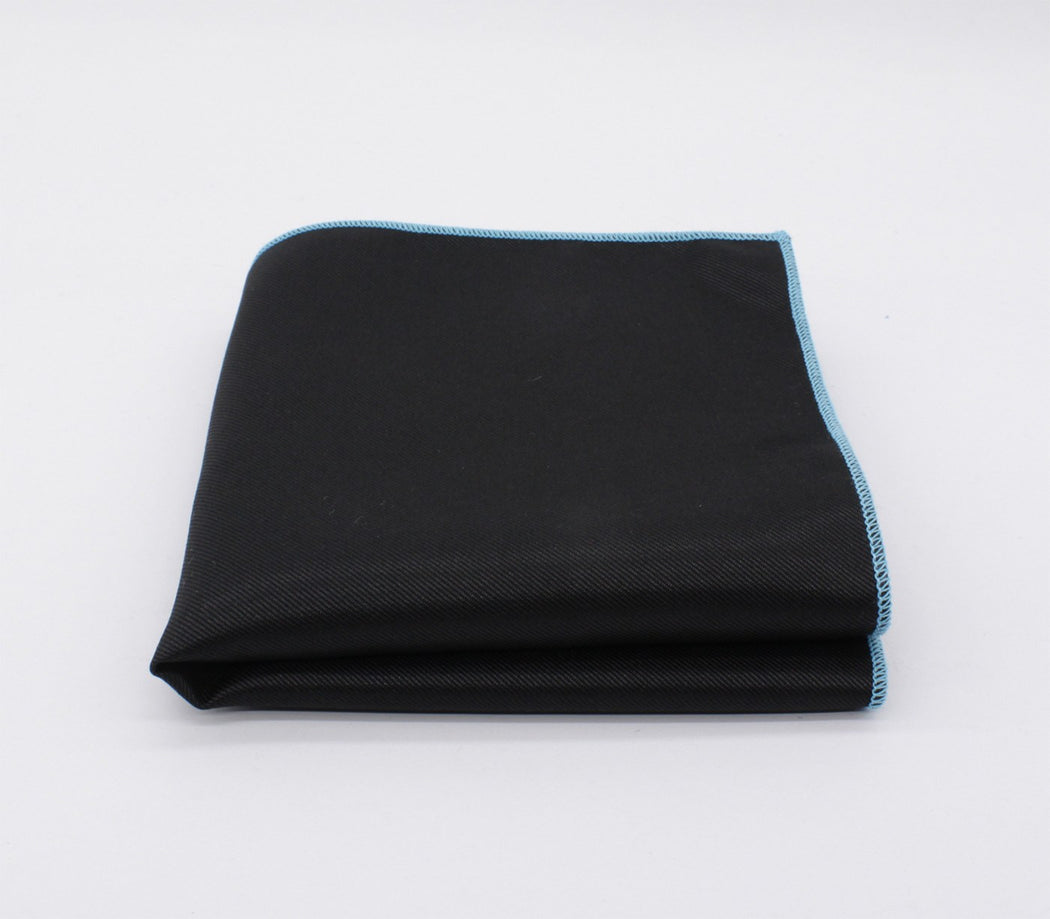 Black & Sky Blue Solid Color Pocket Square