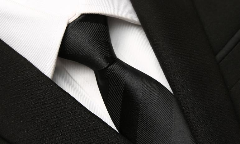 Black Striped Skinny Tie