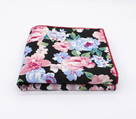 Black Thrill Floral Pocket Square