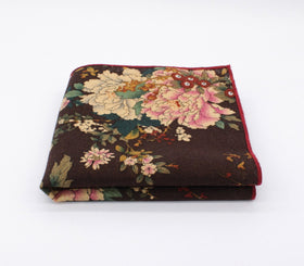 Blackish Brown Floral Pocket Square