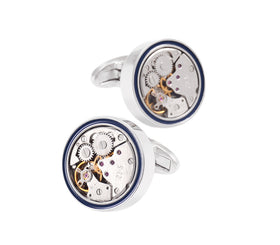 Blue Line Mechanical Watch Movement Cufflinks