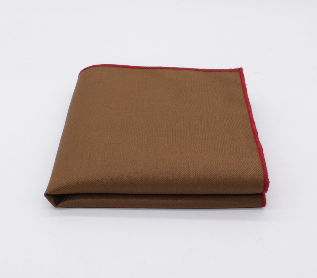 Tawny Brown & Red Solid Color Pocket Square