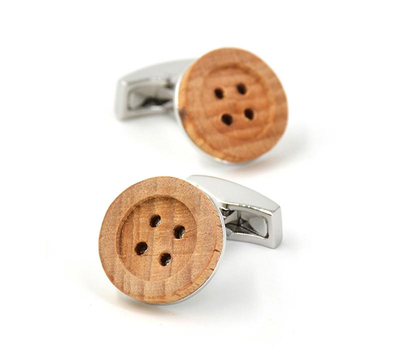 Button Wooden Cufflink