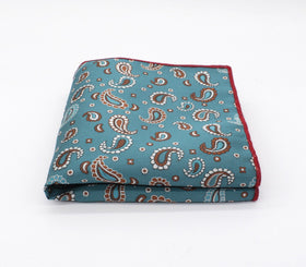 Cerulean Blue Paisley Pocket Square