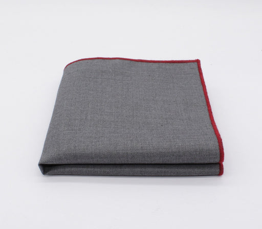Charcoal & Red Solid Color Pocket Square